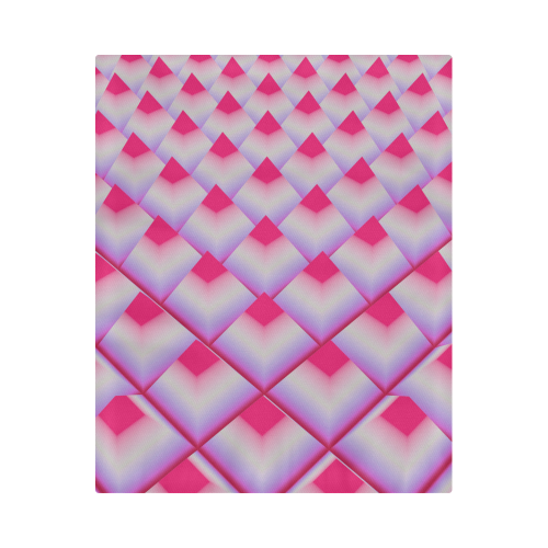 """Neon Pink 3d Pyramids Duvet Cover 86""""x70"""" ( All-over-print)"""