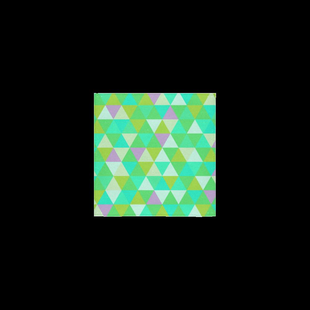 "Green Geometric Triangle Pattern Square Towel 13""x13"""
