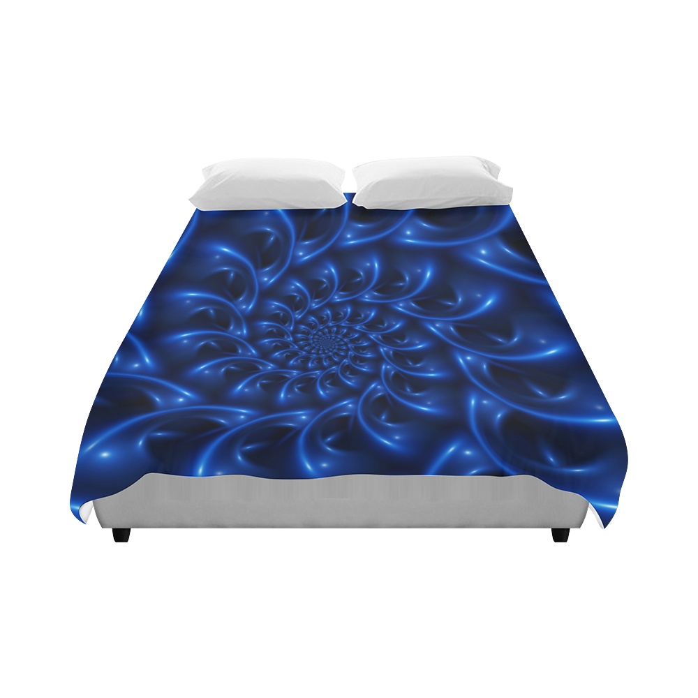 """Glossy Blue Spiral Duvet Cover 86""""x70"""" ( All-over-print)"""