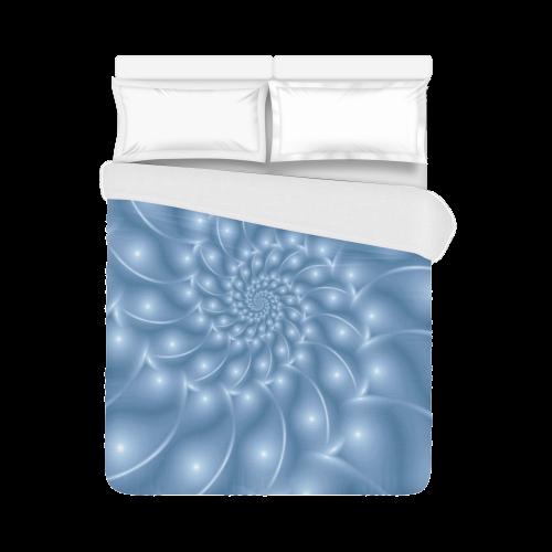 "Pastel Blue Spiral Duvet Cover 86""x70"" ( All-over-print)"