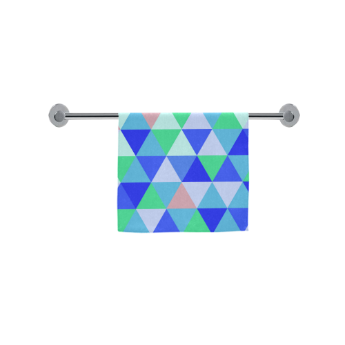 "Blue Geometric Triangle Pattern Custom Towel 16""x28"""
