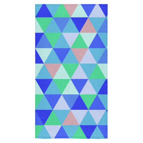 "Blue Geometric Triangle Pattern Bath Towel 30""x56"""