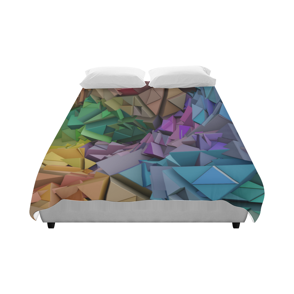 """Colorful 3d Abstract Low Poly Duvet Cover 86""""x70"""" ( All-over-print)"""