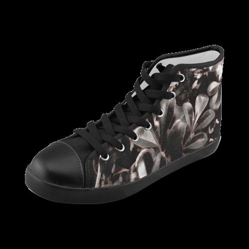 Foliage #1 Red Edge - Jera Nour Women's High Top Canvas Shoes (Model 002)