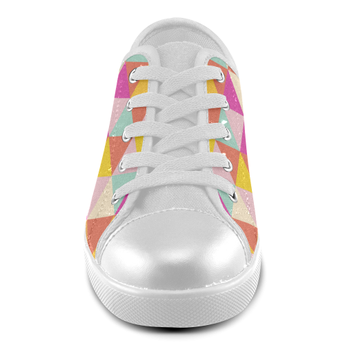 Yellow Geometric Triangle Pattern Canvas Kid's Shoes (Model 016)