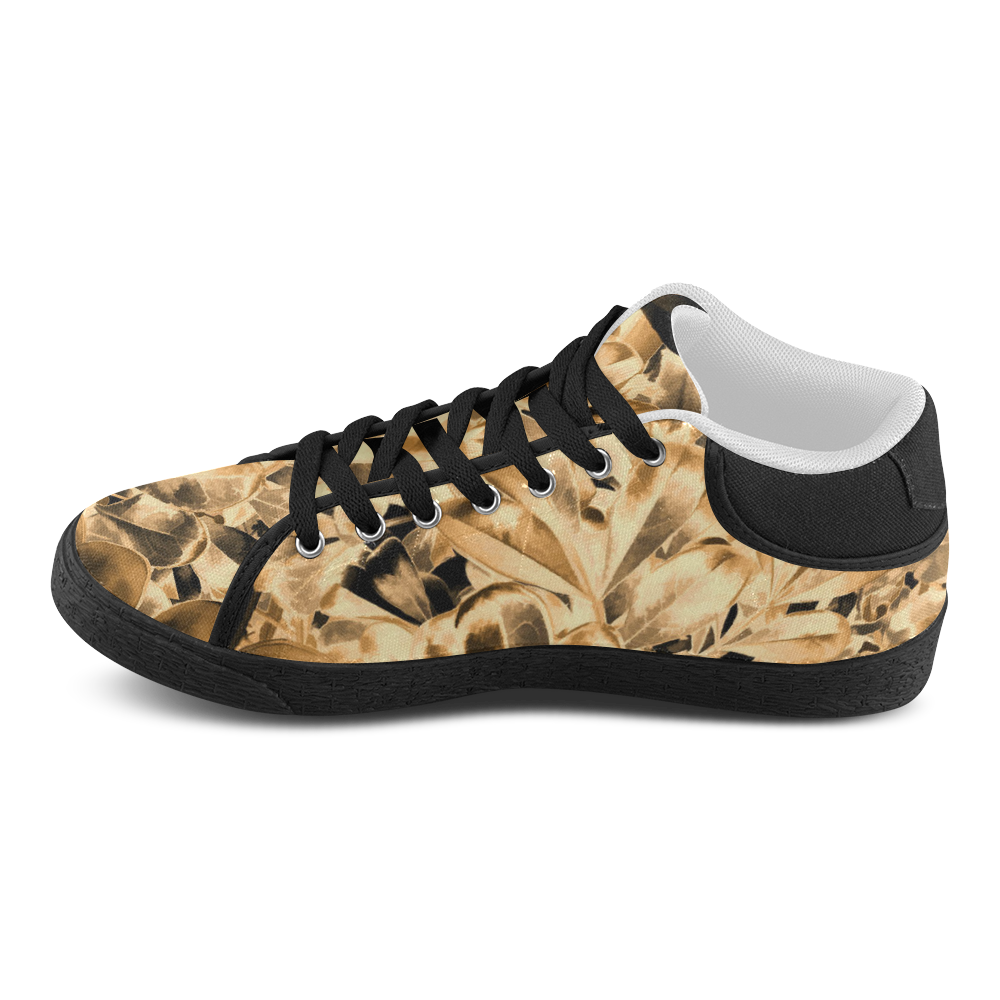 Foliage #2 Gold - Jera Nour Women's Chukka Canvas Shoes (Model 003)