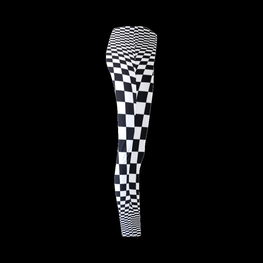 Optical Illusion Checkers Chequers Cassandra Women's Leggings (Model L01)