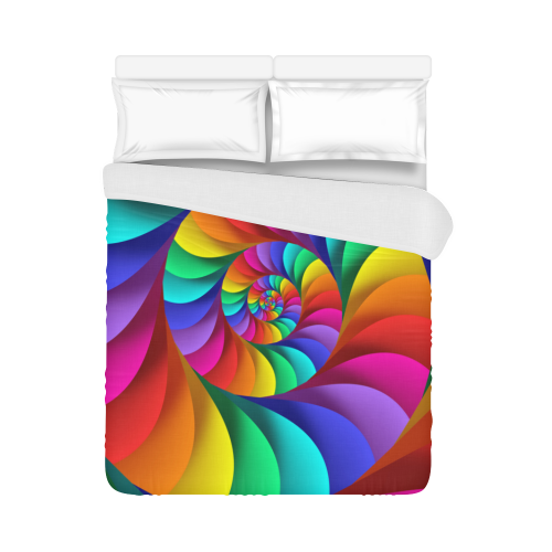 "Psychedelic Rainbow Spiral Duvet Cover 86""x70"" ( All-over-print)"