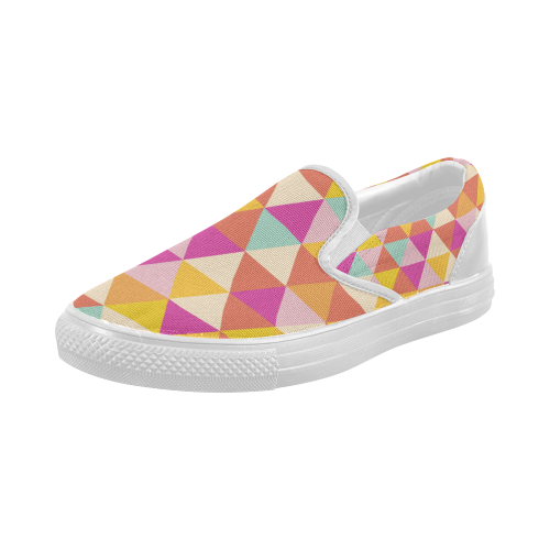 Yellow Geometric Triangle Pattern Women's Slip-on Canvas Shoes (Model 019)