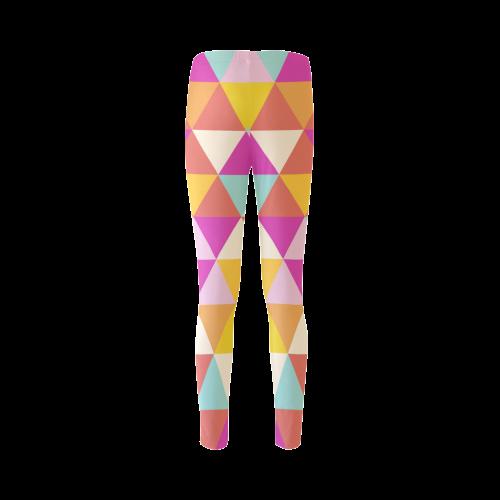 Yellow Geometric Triangle Pattern Cassandra Women's Leggings (Model L01)