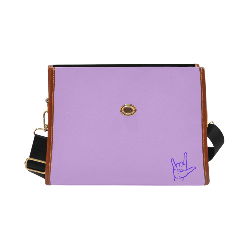 Purple ASL I Love You Waterproof Canvas Bag/All Over Print (Model 1641)