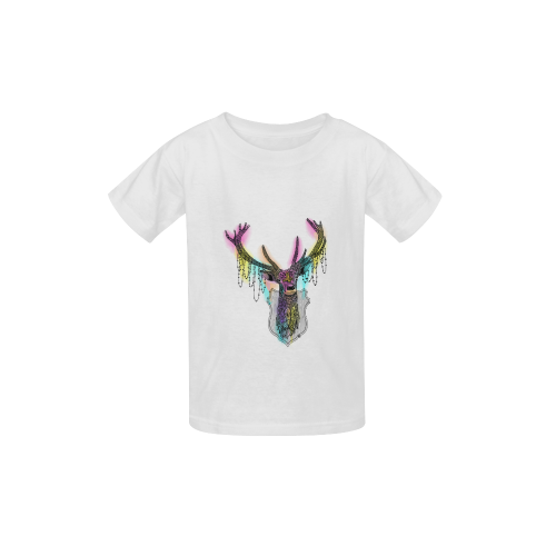 Watercolor deer head, ornate animal drawing Kid's  Classic T-shirt (Model T22)