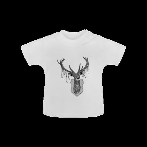 Ornate Deer head drawing - pattern art Baby Classic T-Shirt (Model T30)