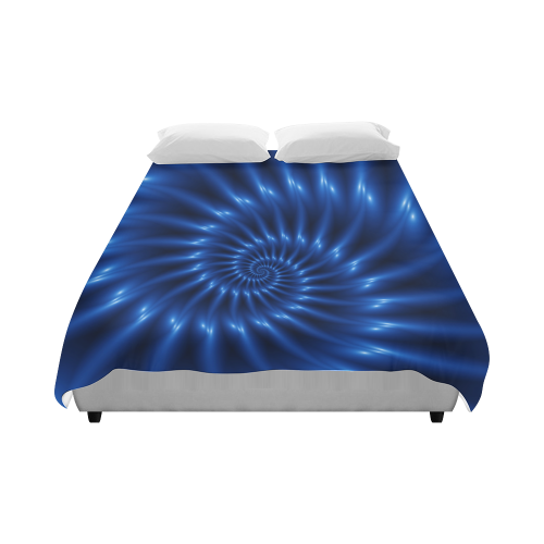 "Glossy Blue Spiral Duvet Cover 86""x70"" ( All-over-print)"