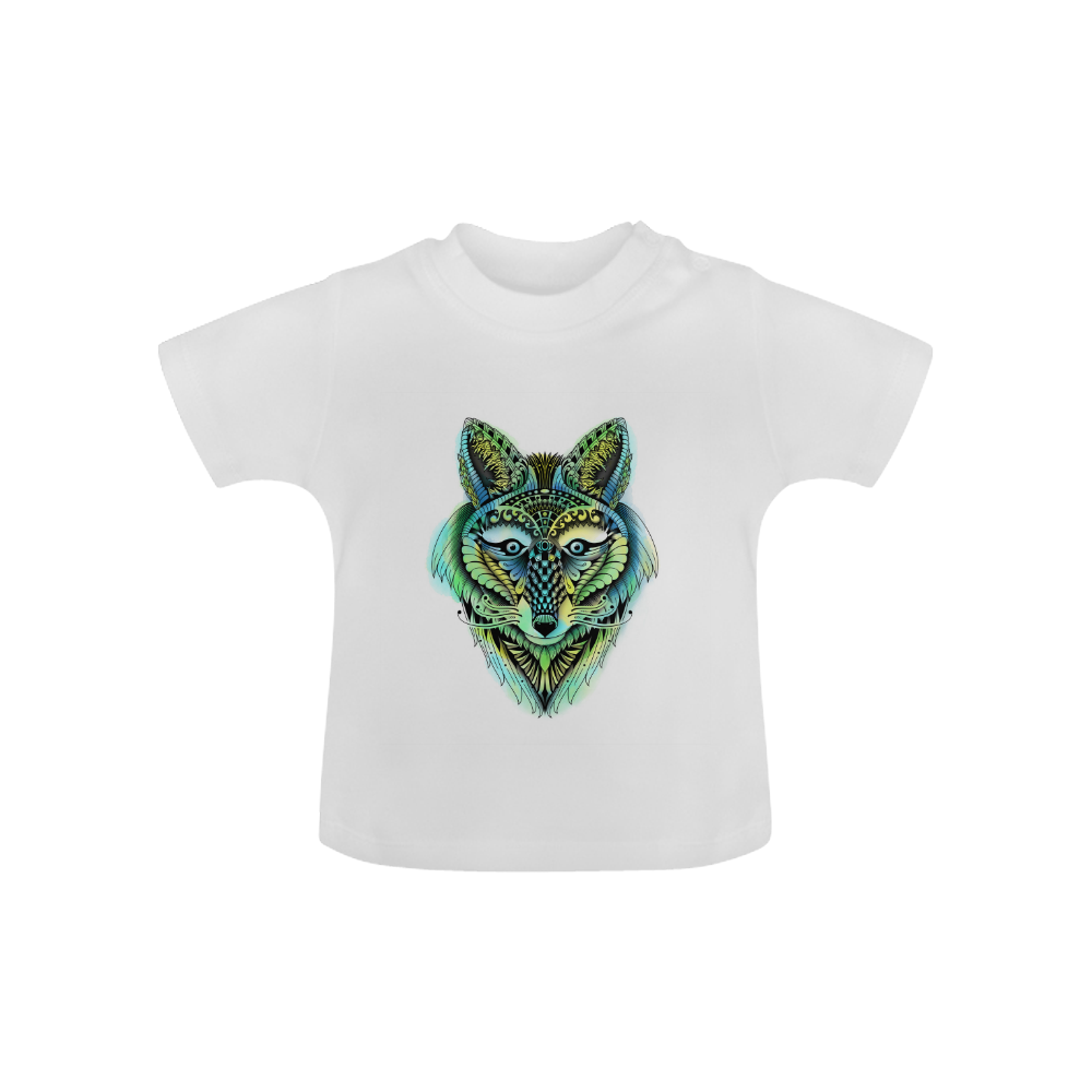 water color ornate foxy wolf head ornate drawing Baby Classic T-Shirt (Model T30)