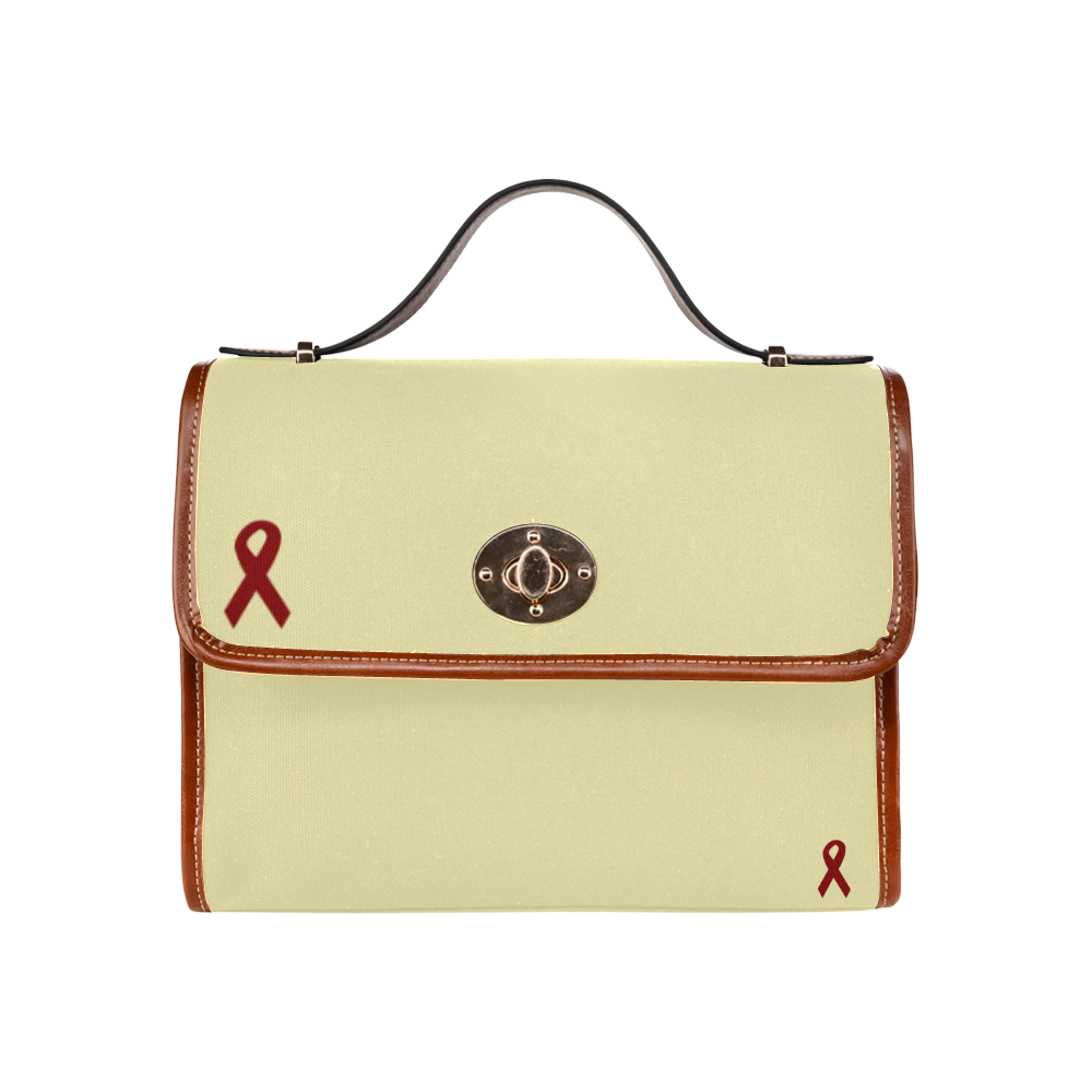 Red Ribbon Waterproof Canvas Bag/All Over Print (Model 1641)