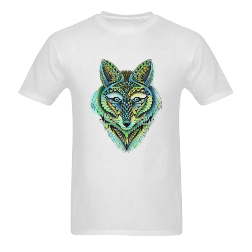water color ornate foxy wolf head ornate drawing Sunny Men's T- shirt (Model T06)