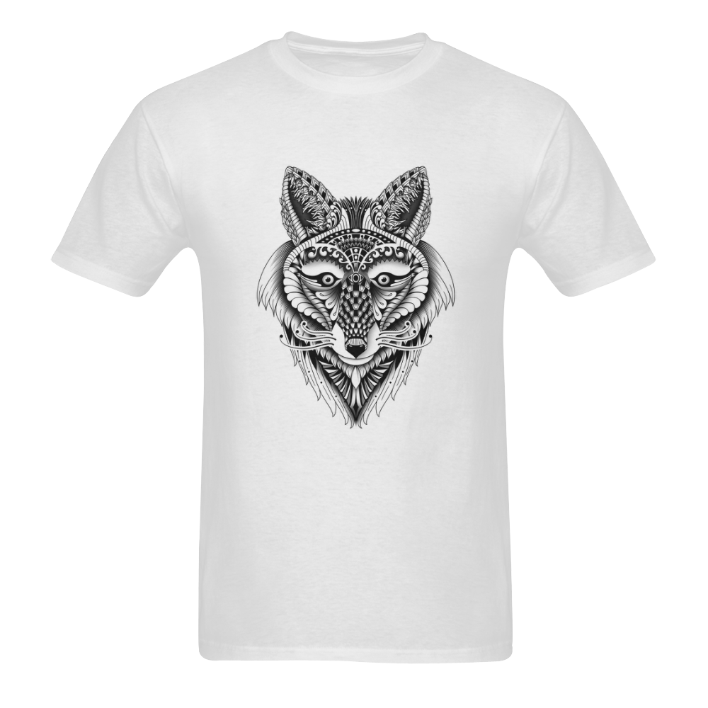 Foxy Wolf ornate animal drawing Sunny Men's T- shirt (Model T06)