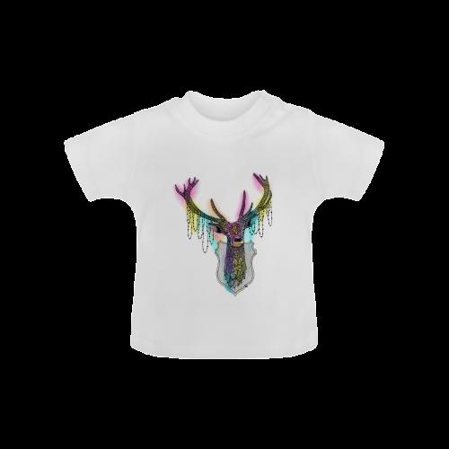 Watercolor deer head, ornate animal drawing Baby Classic T-Shirt (Model T30)