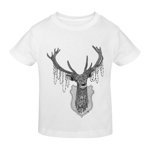 Ornate Deer head drawing - pattern art Sunny Youth T-shirt (Model T04)