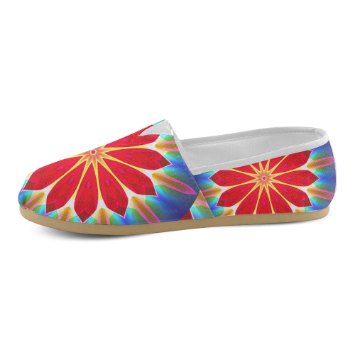 Blue Ice Flowers Red Abstract Modern Petals Zen Unisex Casual Shoes (Model 004)