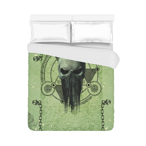 "Green skull Duvet Cover 86""x70"" ( All-over-print)"