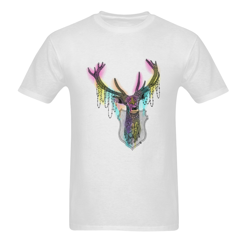 Watercolor deer head, ornate animal drawing Sunny Men's T- shirt (Model T06)