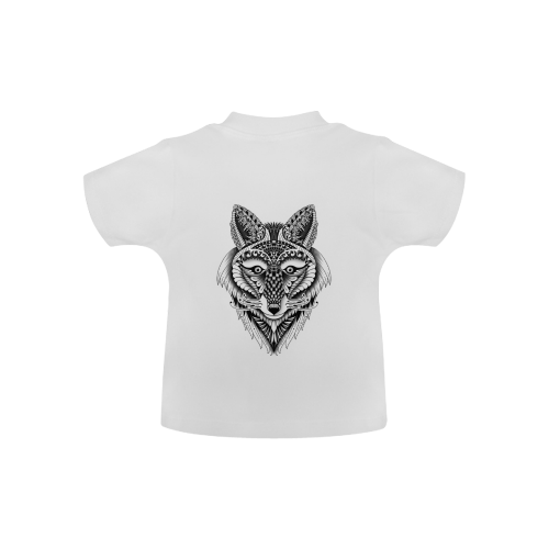 Foxy Wolf ornate animal drawing Baby Classic T-Shirt (Model T30)
