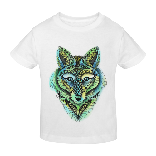 water color ornate foxy wolf head ornate drawing Sunny Youth T-shirt (Model T04)