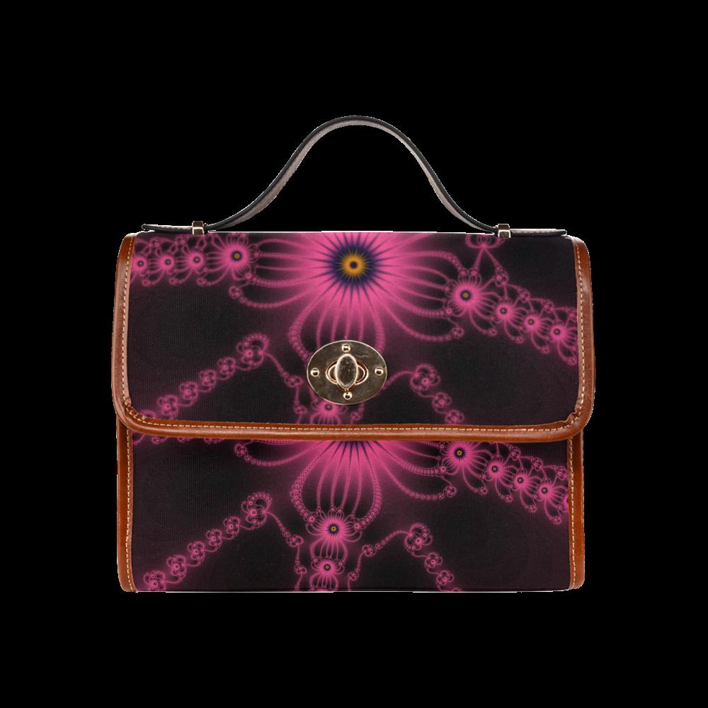 Fractal Fuchsia Flower Bloom Waterproof Canvas Bag/All Over Print (Model 1641)
