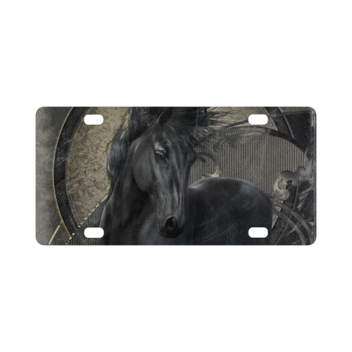 Gothic Friesian Horse Classic License Plate
