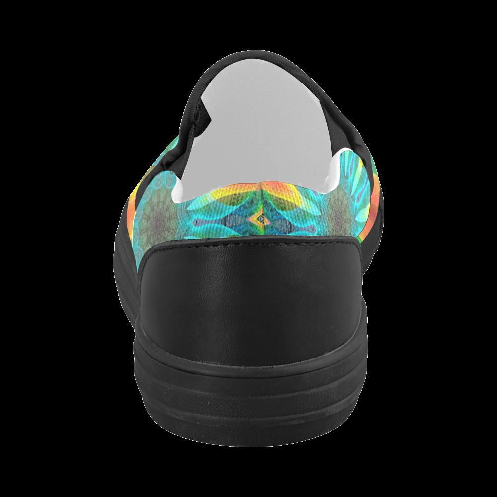 Aqua Gold Joy to the World Flowers, Zen Rainbow Women's Slip-on Canvas Shoes (Model 019)