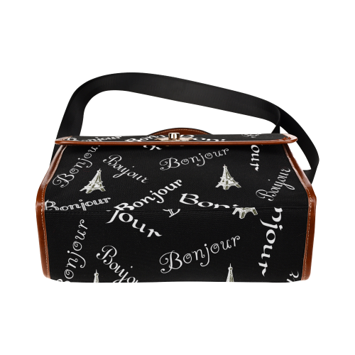 White Bonjour Waterproof Canvas Bag/All Over Print (Model 1641)