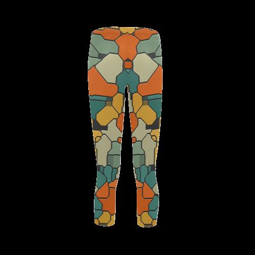 Textured retro shapes Capri Legging (Model L02)