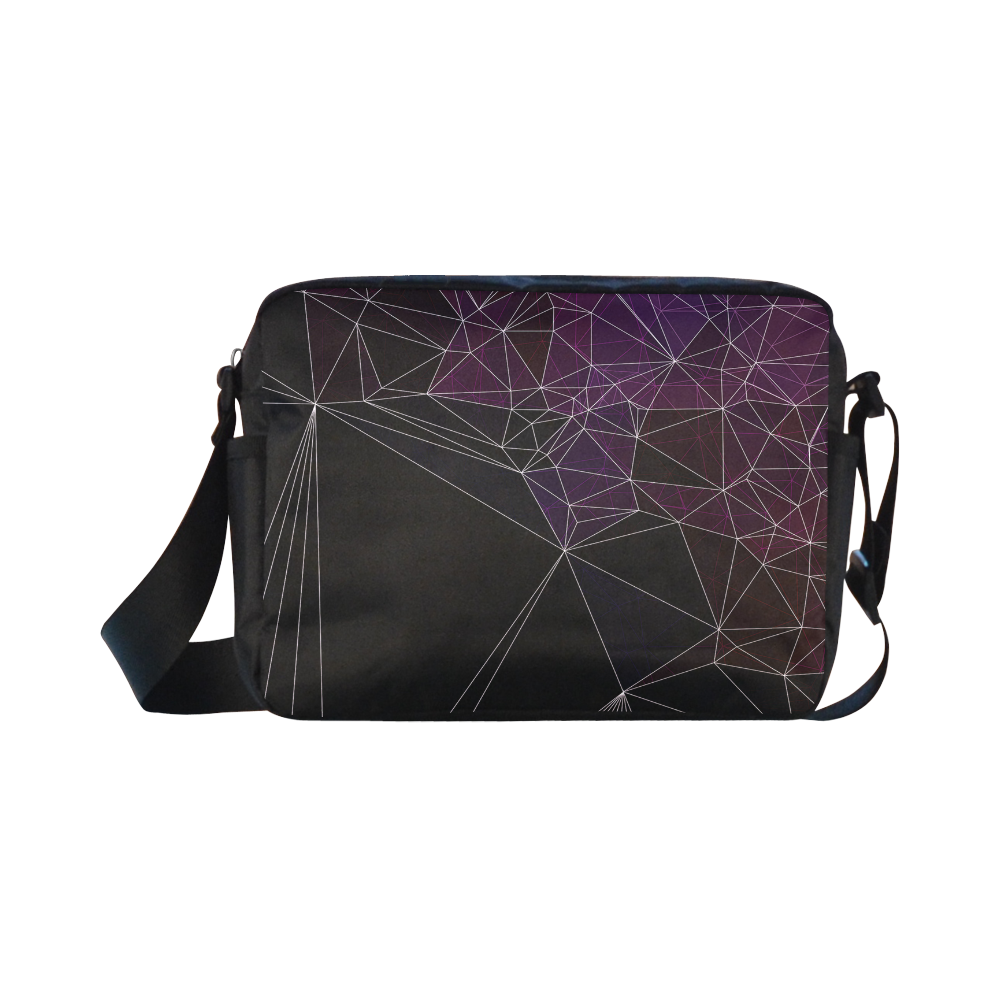 Polygons purple and black Classic Cross-body Nylon Bags (Model 1632)