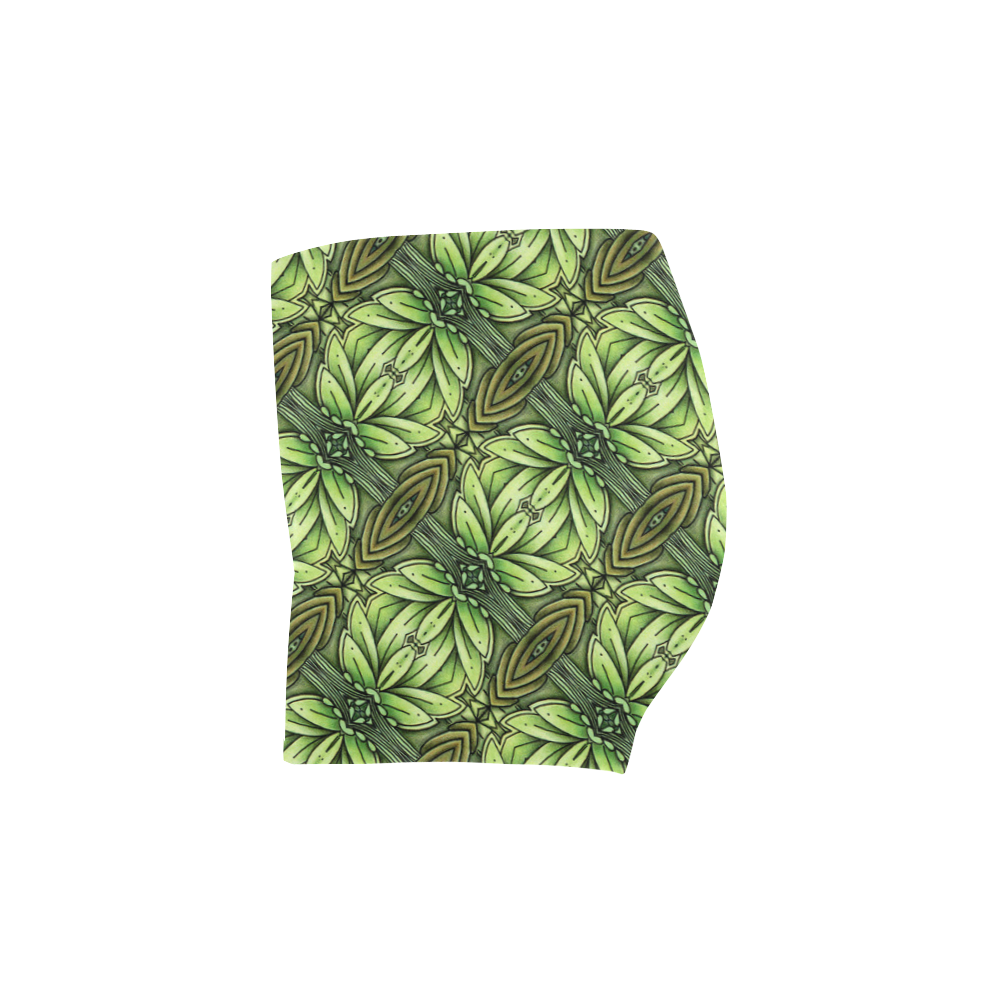 Mandy Green - Leaf Weave small foliage Briseis Skinny Shorts (Model L04)