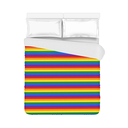 """Gay Pride Rainbow Stripes Duvet Cover 86""""x70"""" ( All-over-print)"""