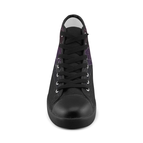 Polygons purple and black Women's High Top Canvas Shoes (Model 002)