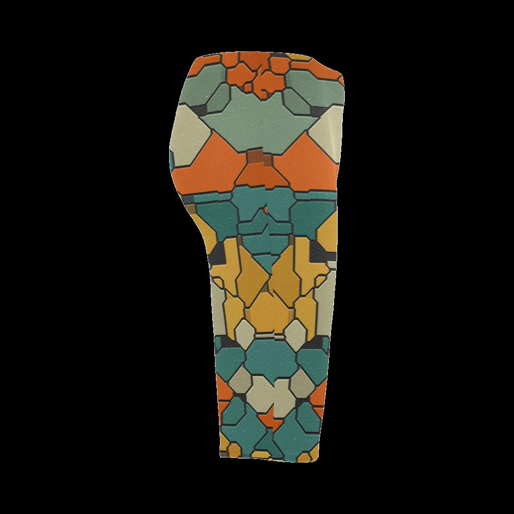 Textured retro shapes Hestia Cropped Leggings (Model L03)