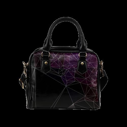 Polygons purple and black Shoulder Handbag (Model 1634)