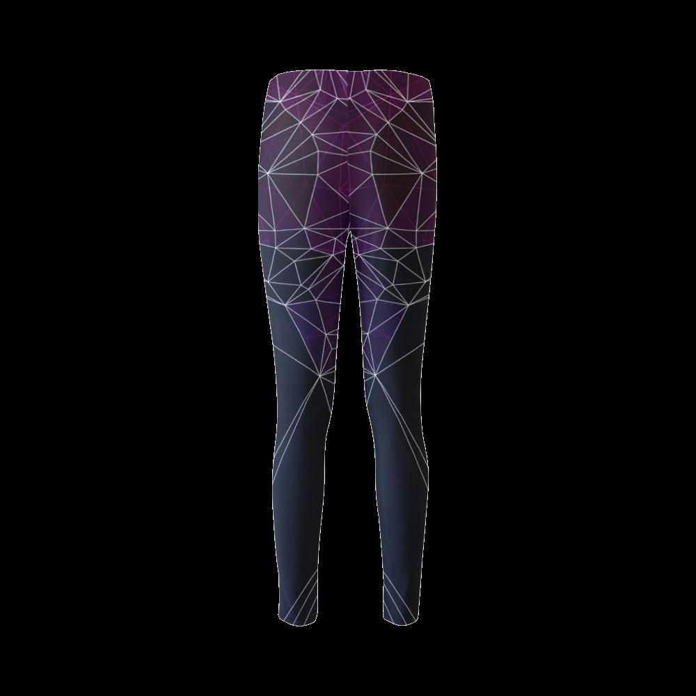 Polygons purple and black Cassandra Women's Leggings (Model L01)