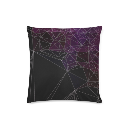 """Polygons purple and black Custom Zippered Pillow Case 16""""x16""""(Twin Sides)"""