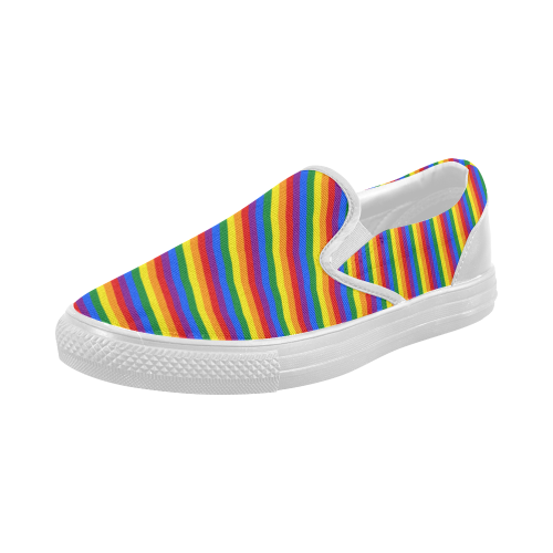 Gay Pride Rainbow Stripes Women's Slip-on Canvas Shoes (Model 019)