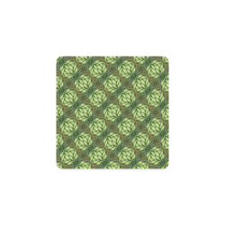 Mandy Green Leaf Weave small pattern Square Coaster