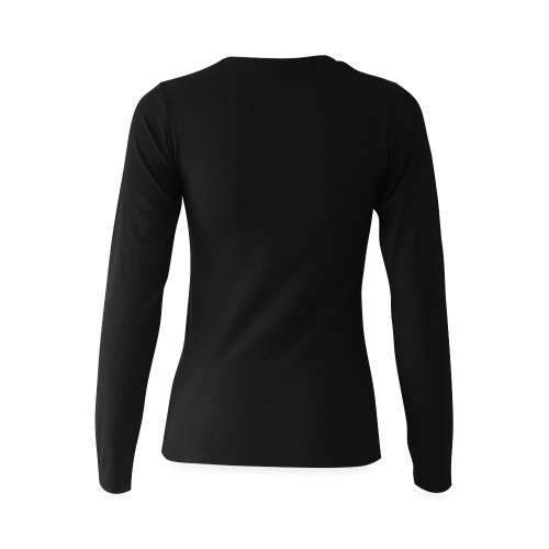 What are you doing here? Black Sunny Women's T-shirt (long-sleeve) (Model T07)