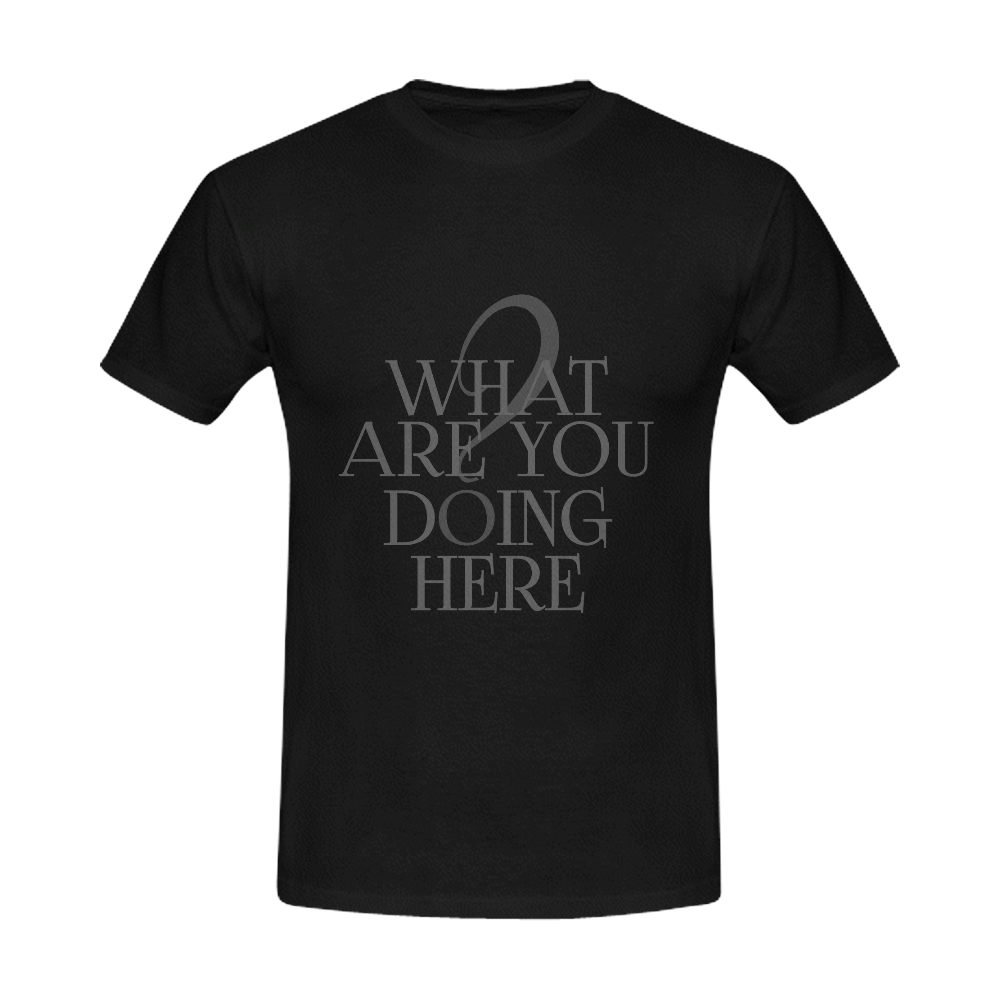 What are you doing here? Black   Men's Slim Fit T-shirt (Model T13)