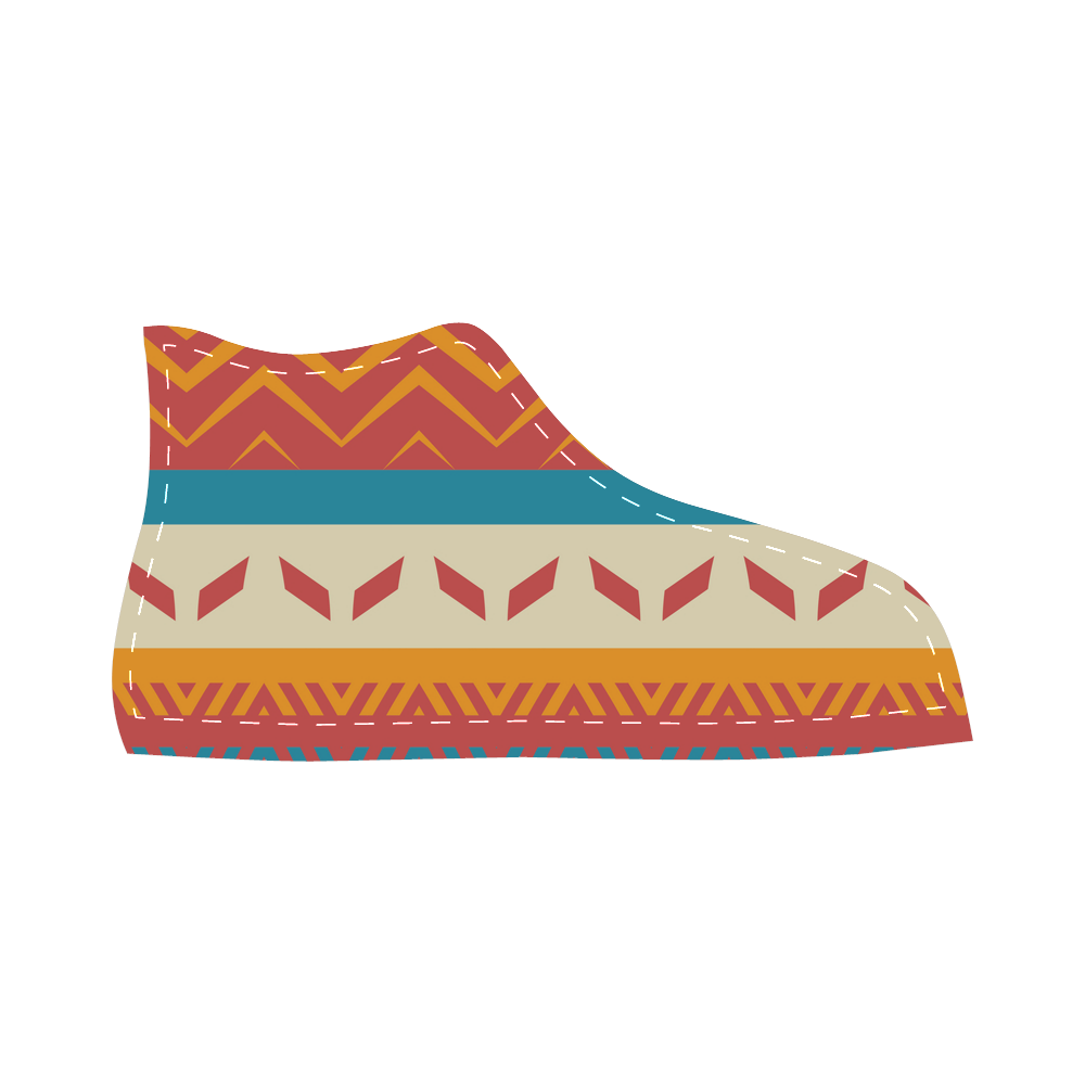 Tribal shapes Velcro High Top Canvas Kid's Shoes (Model 015)