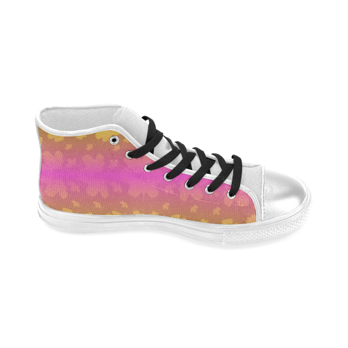 Pretty flowers in neon Women's Classic High Top Canvas Shoes (Model 017)