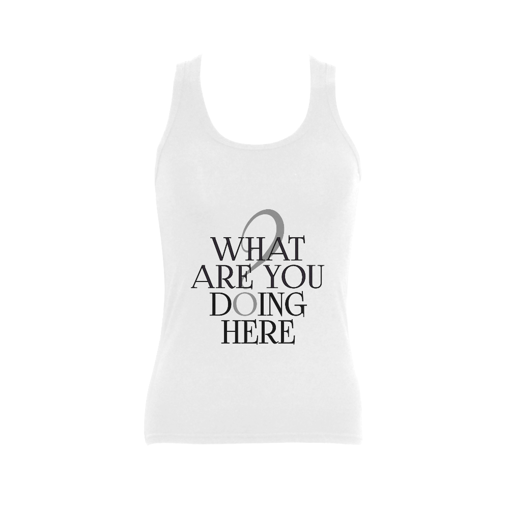 What are you doing here? Women's Shoulder-Free Tank Top (Model T35)