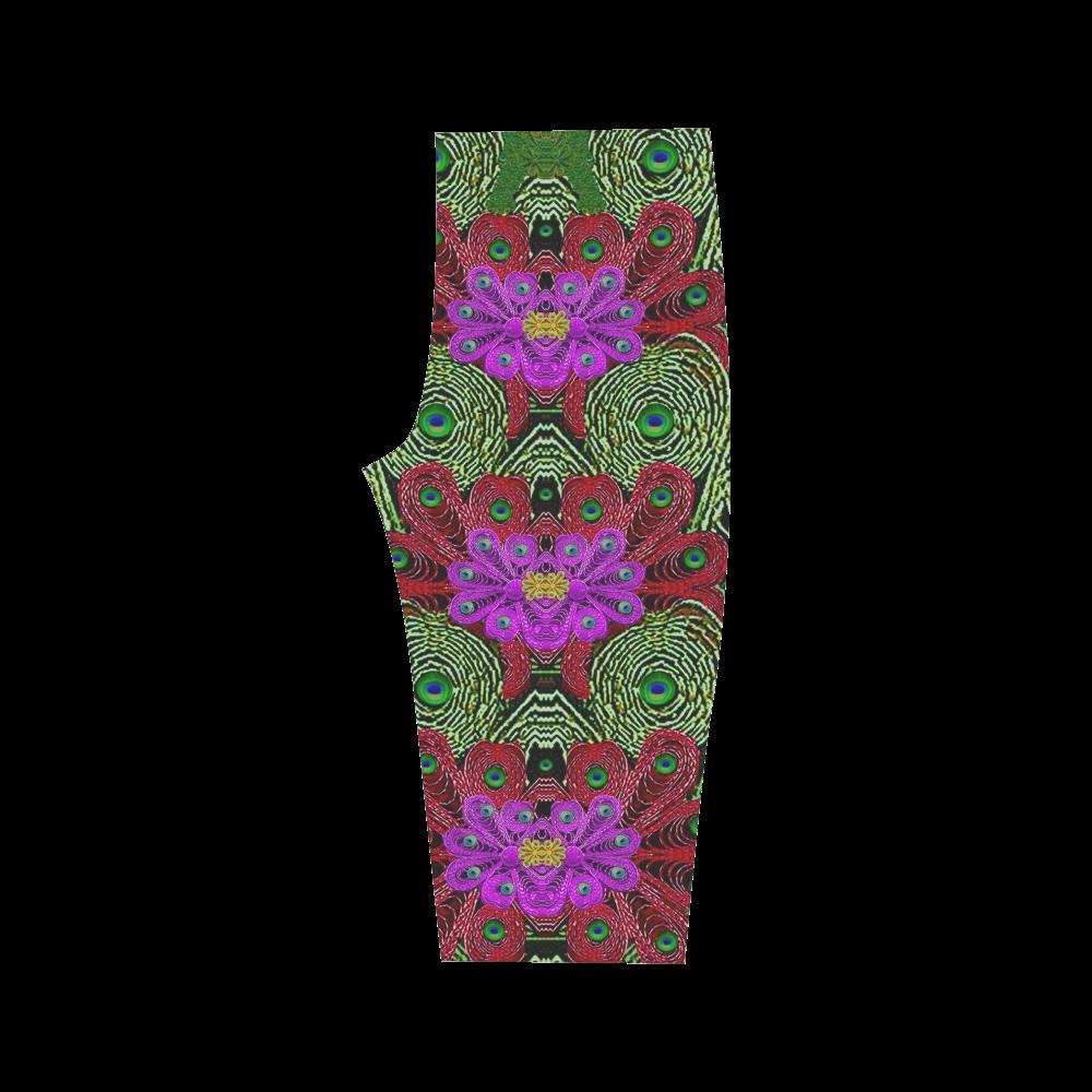 Metal Peacock In paradise Land Hestia Cropped Leggings (Model L03)